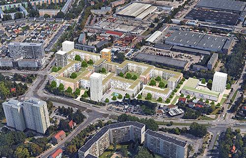 HOWOGE Wettbewerb Gehrenseestraße Berlin- Lichtenberg Vogelperspektive