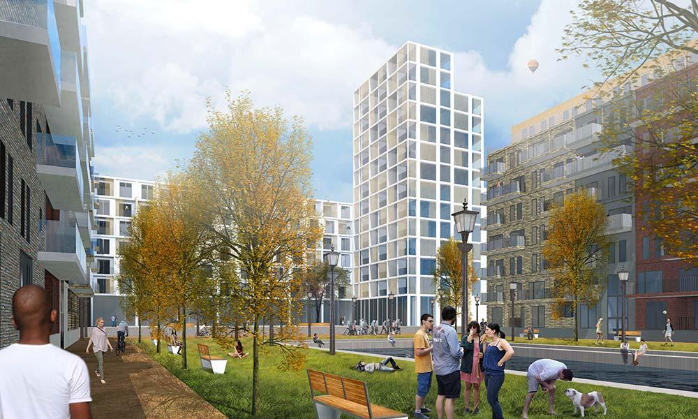 Wettbewerb Wohnpark Herzberge in Berlin- Lichtenberg, Blick auf das Hochhaus