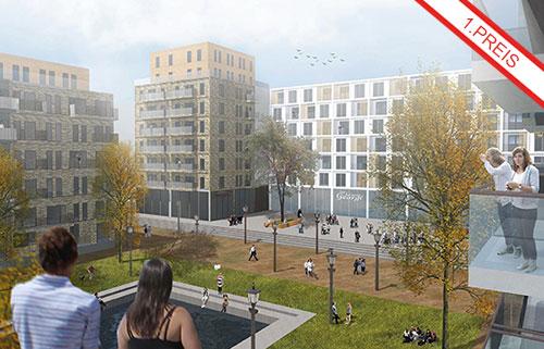 Wettbewerb Wohnpark Herzberge in Berlin- Lichtenberg, Blick auf das Quartier.